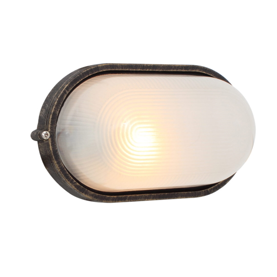 Eurolux Large Oval Black & Gold Bulkhead Light without Grid