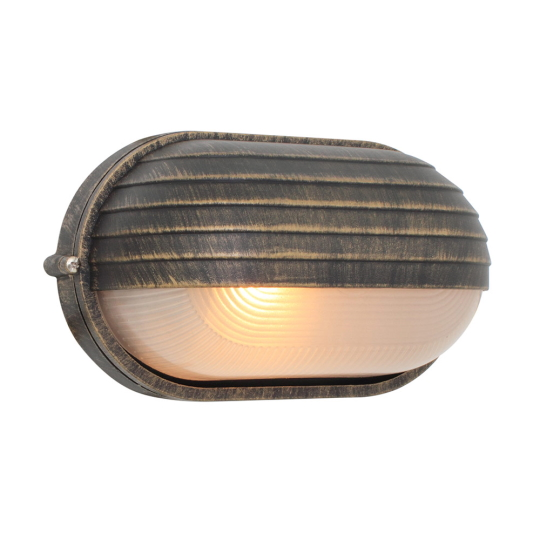 Eurolux Oval Large Eyelid Black & Gold Bulkhead Light