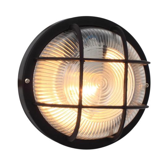 Eurolux Plastic Round Black Bulkhead Light with Grid