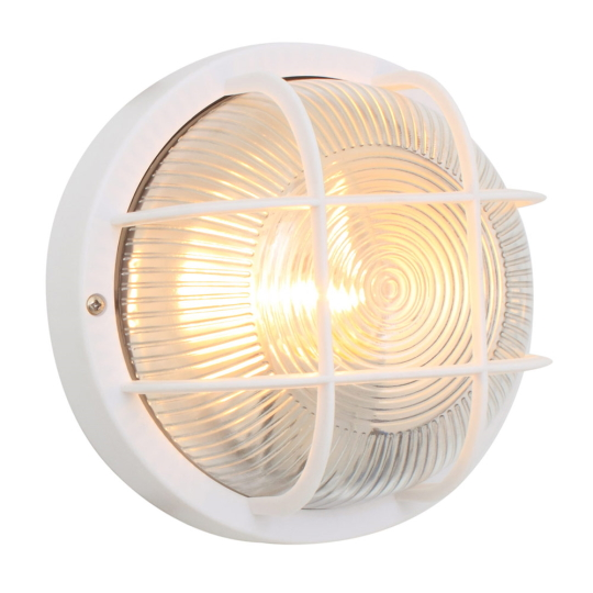 Eurolux Plastic Round White Bulkhead Light with Grid