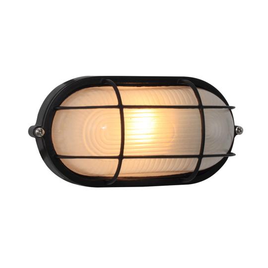 Eurolux Small Oval Black Bulkhead Light with Grid