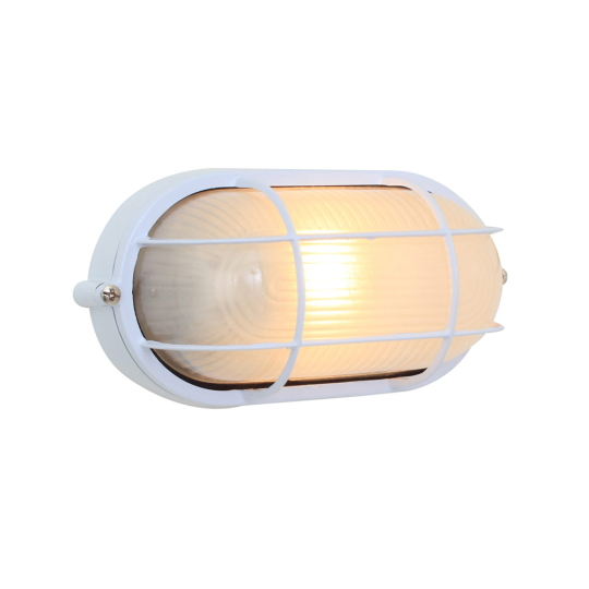 Eurolux Small Oval White Bulkhead Light with Grid
