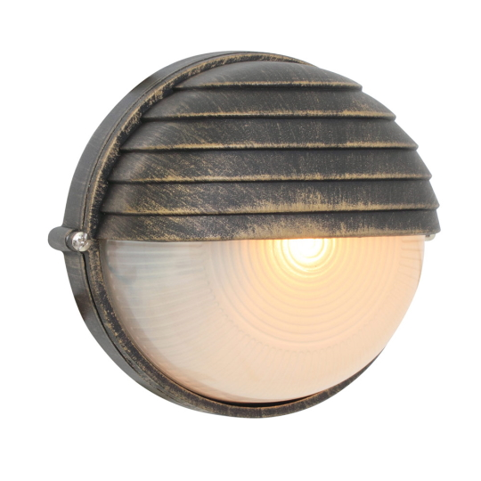 Eurolux Small Round Black & Gold Bulkhead Light with Eyelid