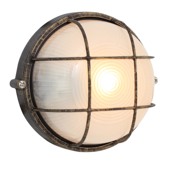 Eurolux Small Round Black & Gold Bulkhead Light with Grid