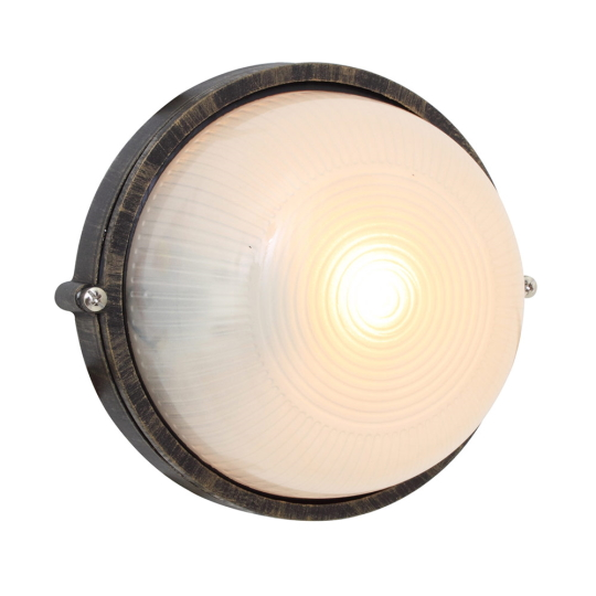 Eurolux Small Round Black & Gold Bulkhead Light without Grid
