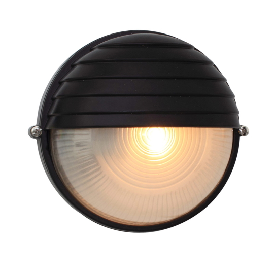 Eurolux Small Round Black Bulkhead Light with Eyelid