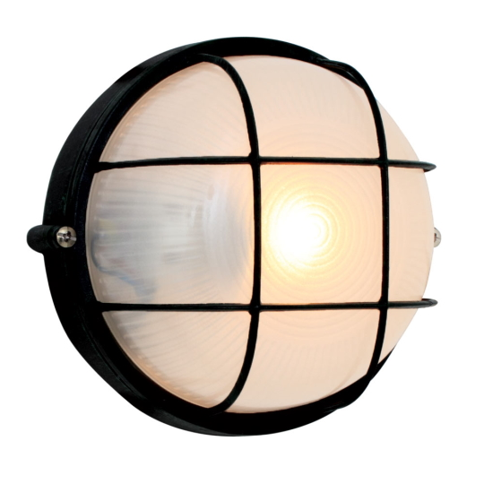 Eurolux Small Round Black Bulkhead Light with Grid