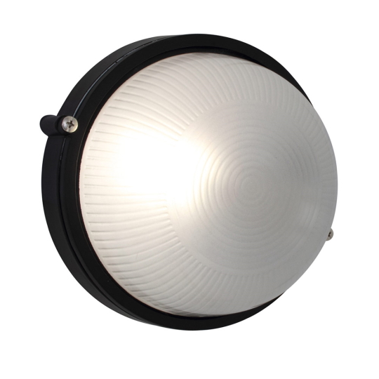 Eurolux Small Round Black Bulkhead Light without Grid