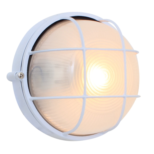 Eurolux Small Round White Bulkhead Light with Grid