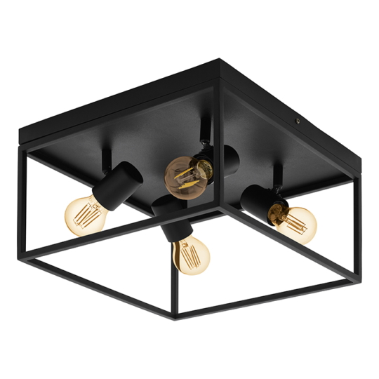 Eglo Silentina 4 Light Black Flush Mount Ceiling Light