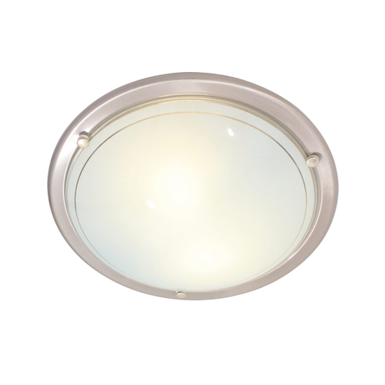 Eurolux Italian 400mm Satin Chrome Flush Mount Ceiling Light