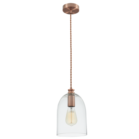 Bright Star Bridget Clear Dome Glass Pendant Light