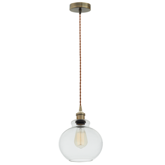 Bright Star Bridget Clear Round Glass Pendant Light