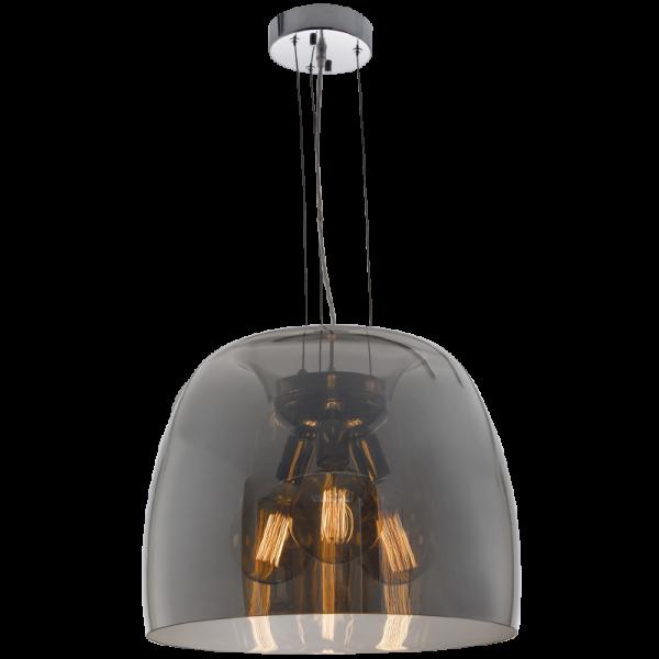 Bright Star Elspeth 3-Light Dome Smoke Glass Pendant Light